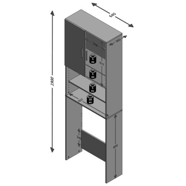 FMD Waschmaschinenschrank mit Stauraum Weiß