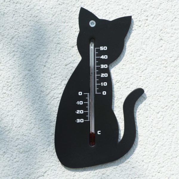 Nature Garten Wandthermometer Katzenform Schwarz