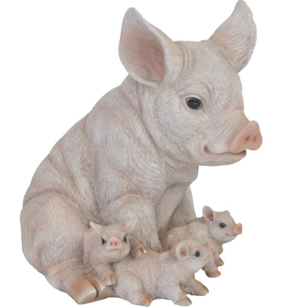 Esschert Design Schwein mit Ferkeln 19,4×22,3×24,3 cm