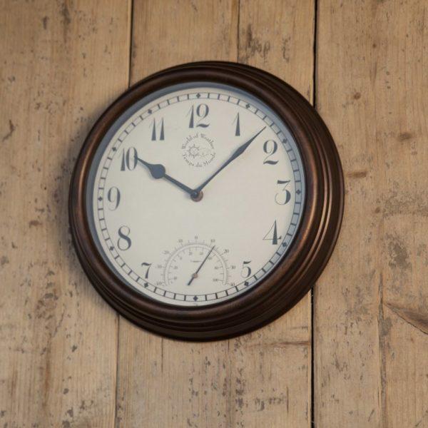 Esschert Design Bahnhofsuhr mit Thermometer 30,5 cm TF007