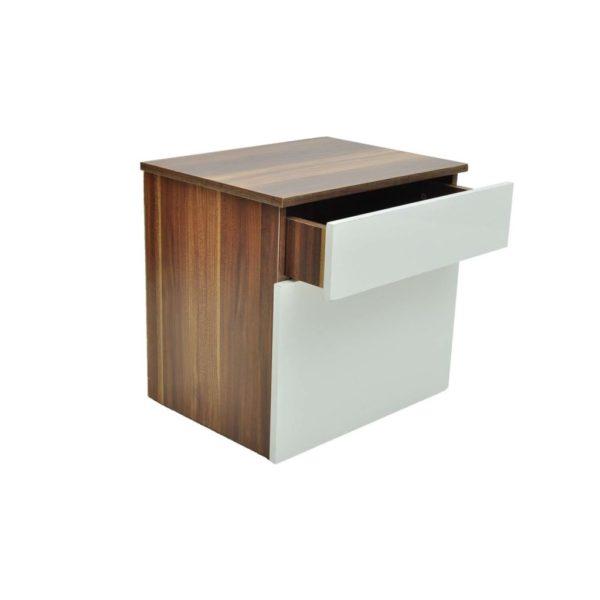 Nachttisch 2 Stk. mit 1 Schublade Braun/Weiß