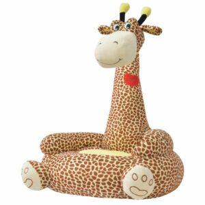 Plüsch-Kindersessel Giraffe Braun