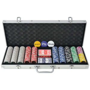 Poker Set mit 500 Laserchips Aluminium