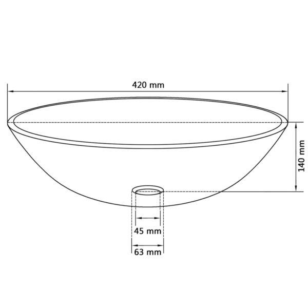Waschbecken Hartglas 42 cm Mattiert
