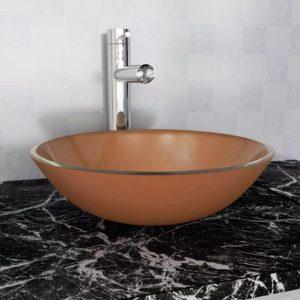 Waschbecken Hartglas 42 cm braun