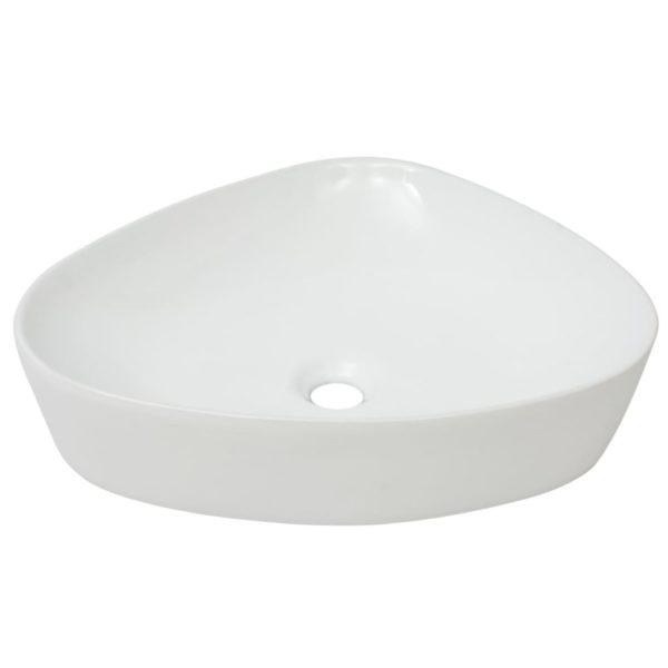 Waschbecken Dreiecksform Keramik Weiß 50,5 x 41 x 12 cm