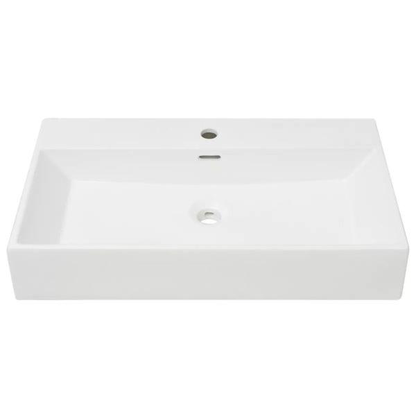 Waschbecken mit Hahnloch Keramik Weiß 76 x 42,5 x 14,5 cm