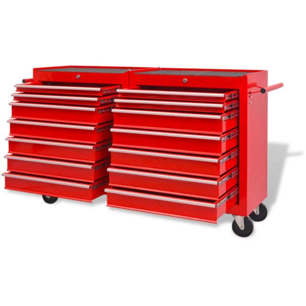 Werkstattwagen mit 14 Schubladen Größe XXL Stahl Rot