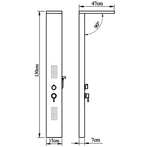Duschpaneel-System Edelstahl Stahl Viereckig