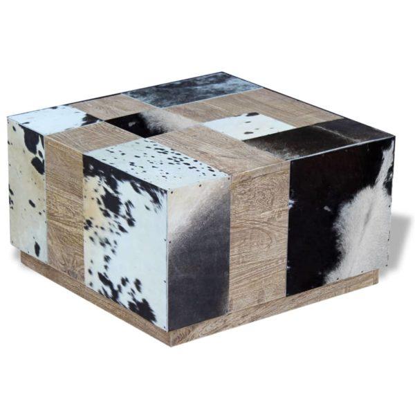 Couchtisch Echtes Rindsleder 60x60x36 cm