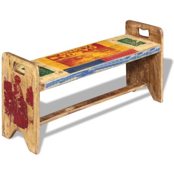 Sitzbank Cola Massivholz Recycelt 100x30x50 cm