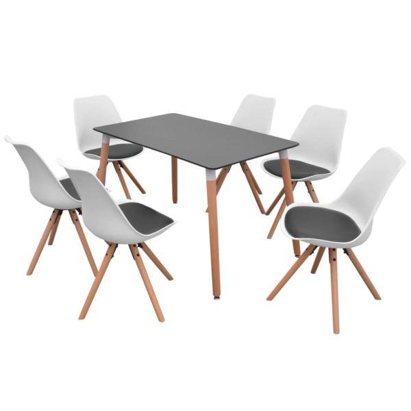 7-teilige Essgruppe Tisch Stühle Schwarz und Weiß
