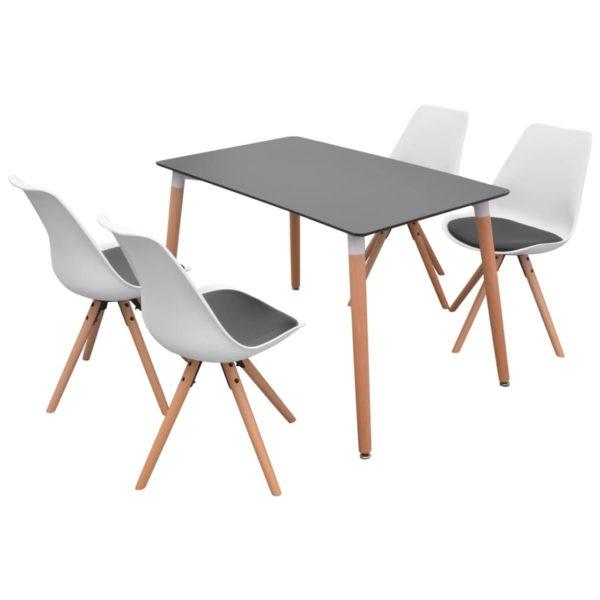 5-teilige Essgruppe Tisch Stühle Schwarz und Weiß