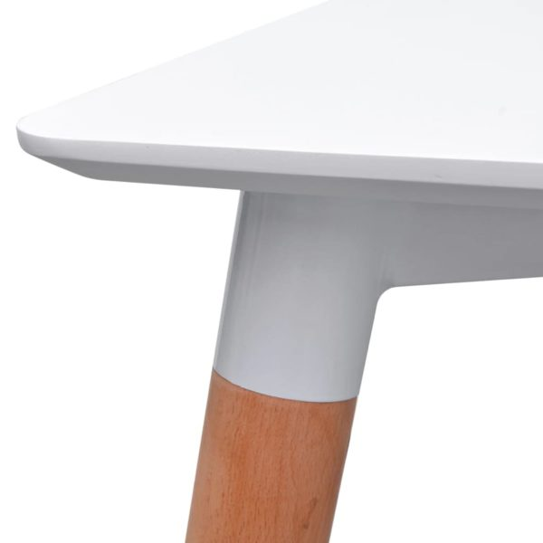 5-teilige Essgruppe Tisch Stühle Weiß und Dunkelgrau