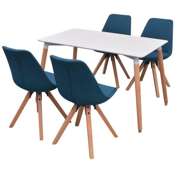 5-teilige Essgruppe Tisch Stühle Weiß und Blau