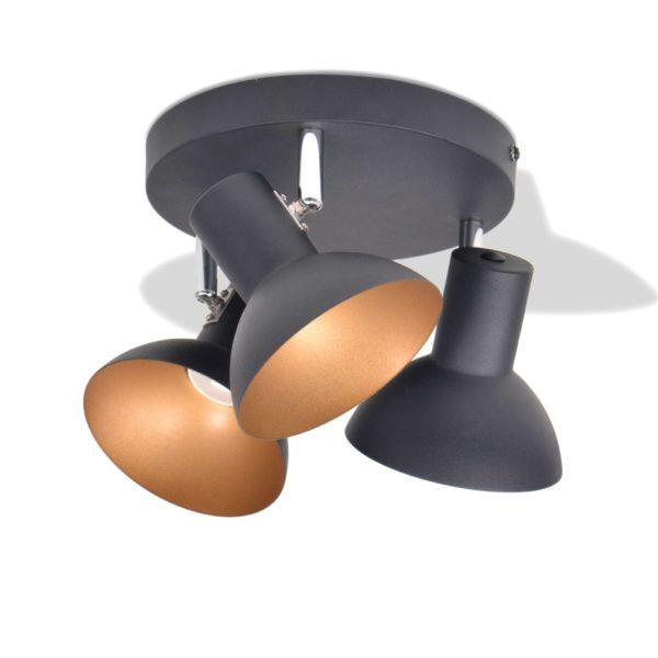 Deckenlampe für 3 Glühbirnen E27 Schwarz und Gold