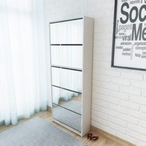 Schuhschrank mit 5 Fächern Spiegel Weiß 63×17×169,5 cm
