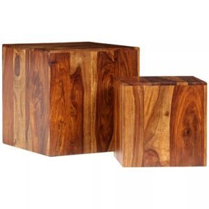 Couchtisch-Set 2-tlg. Massivholz 40 x 40 x 40 cm