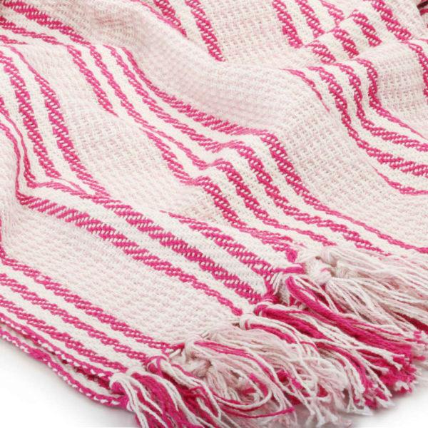 Überwurf Baumwolle Streifen 160 x 210 cm Rosa und Weiss