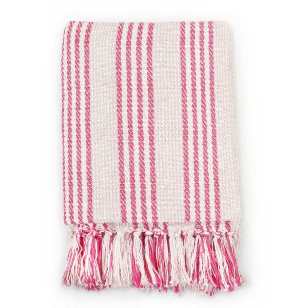 Überwurf Baumwolle Streifen 220 x 250 cm Rosa und Weiss