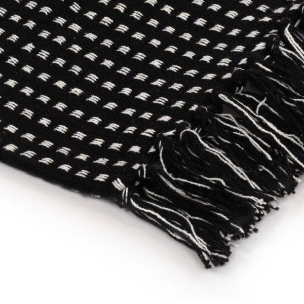 Überwurf Baumwolle Kariert 160 x 210 cm Schwarz