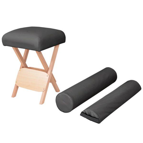 Massage-Klapphocker 12 cm Dicker Sitz + 2 Nackenrollen Schwarz