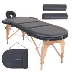 Massageliege Tragbar mit 2 Lagerungskissen 10 cm Polsterung Schwarz