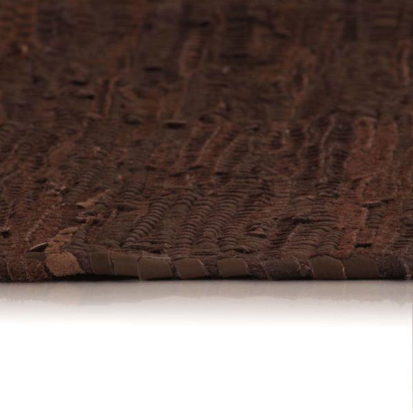 Handgewebter Chindi-Teppich Leder 160 x 230 cm Braun