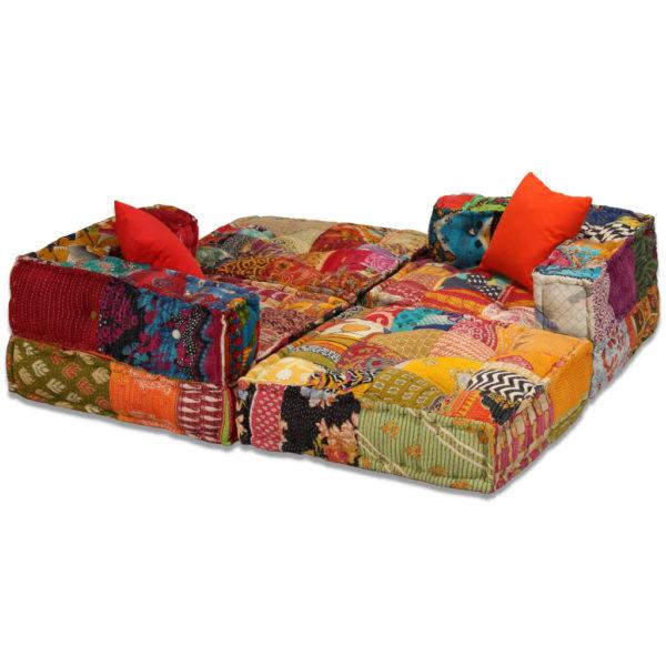 3-Sitzer Modulares Schlafsofa Stoff Patchwork