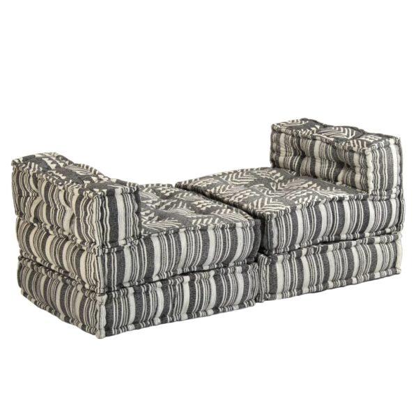 3-Sitzer Modulares Schlafsofa Stoff Gestreift