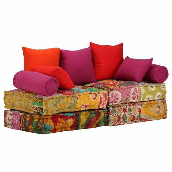 2-Sitzer Modulares Schlafsofa Stoff Patchwork