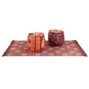 Puff und Teppich 3-tlg. Stoff Patchwork