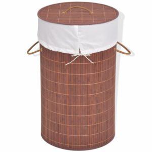 Bambus-Wäschekorb Rund Braun