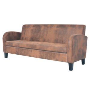 3-Sitzer Sofa Kunstleder Wildleder-Optik Braun