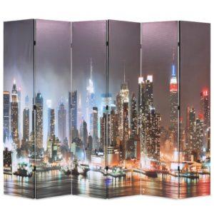 Raumteiler klappbar 228 x 170 cm New York bei Nacht