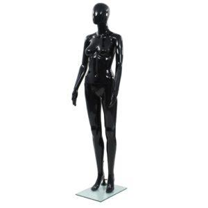 Weibliche Schaufensterpuppe mit Glassockel Schwarz 175 cm