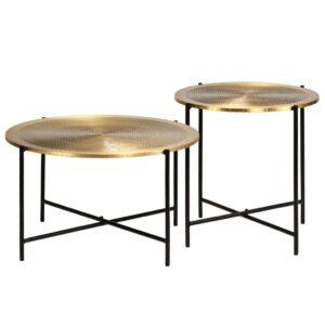 Tisch-Set 2-tlg. MDF mit Messingbeschichtung