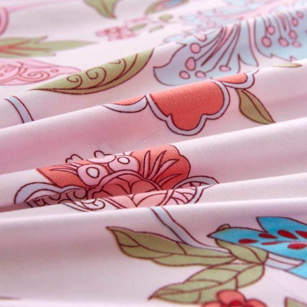 Bettwäsche-Set Blumen/Streifen Rosa 155×220/80×80 cm