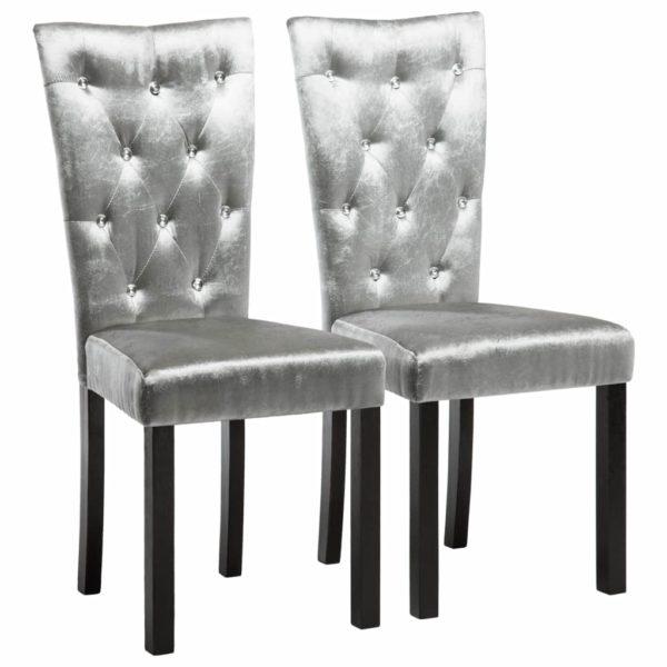 Esszimmerstühle 2 Stk. Silbern Samt