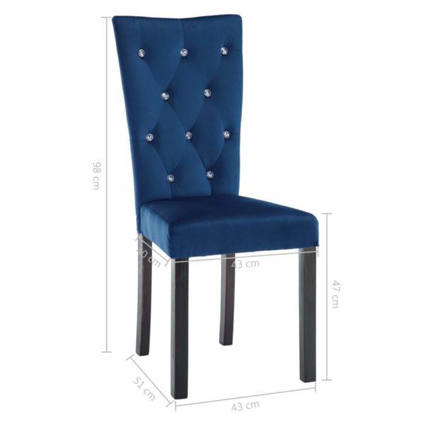 Esszimmerstühle 4 Stk. Dunkelblau Samt