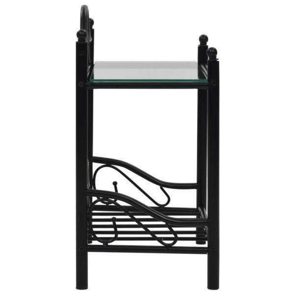 Nachttisch Stahl und Hartglas 45 x 30,5 x 60 cm Schwarz