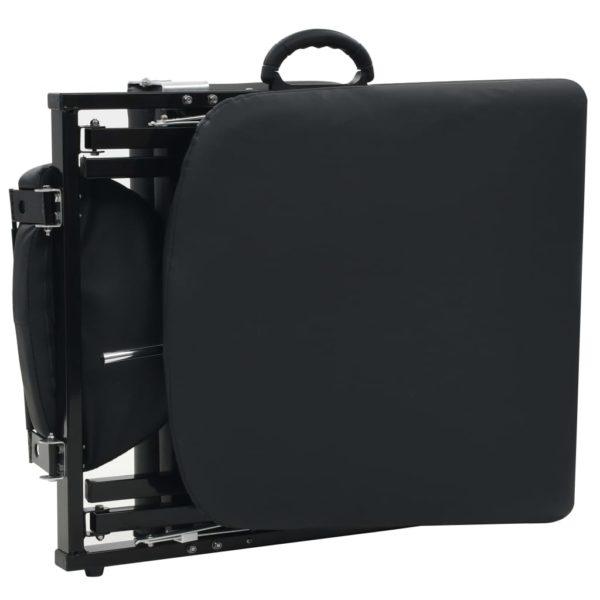 Gesichtsbehandlungsstuhl Tragbar Kunstleder 185x78x76cm Schwarz