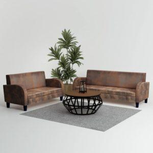 Sofa-Set 2-tlg. Kunstleder in Wildleder-Optik Braun