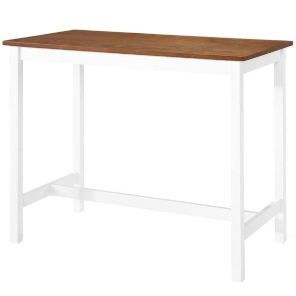 Bartisch mit Stühlen 3-tlg. Massivholz Braun und Weiß