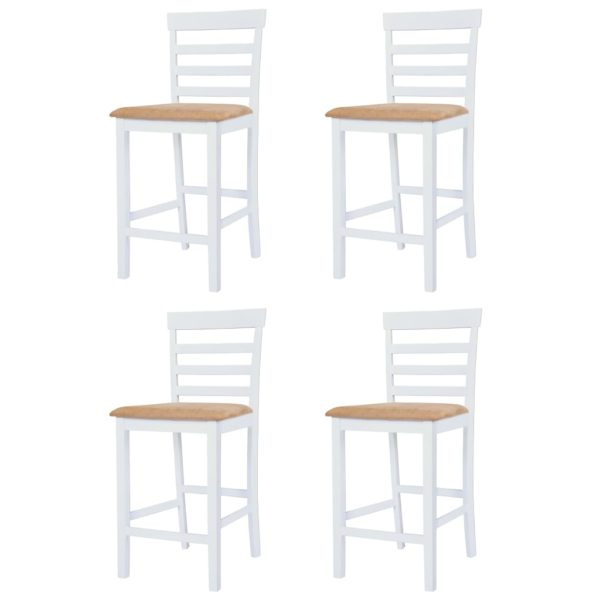 Bartisch mit Stühlen 5-tlg. Massivholz Braun und Weiß