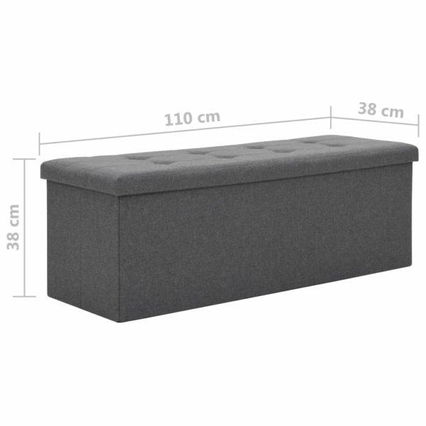 Faltbare Sitzbank Leinenoptik 110×38×38 cm Dunkelgrau