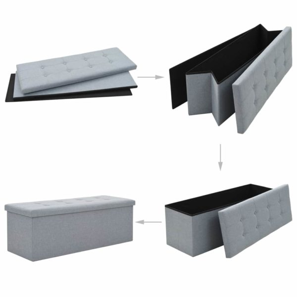 Faltbare Sitzbank Leinenoptik 110×38×38 cm Hellgrau