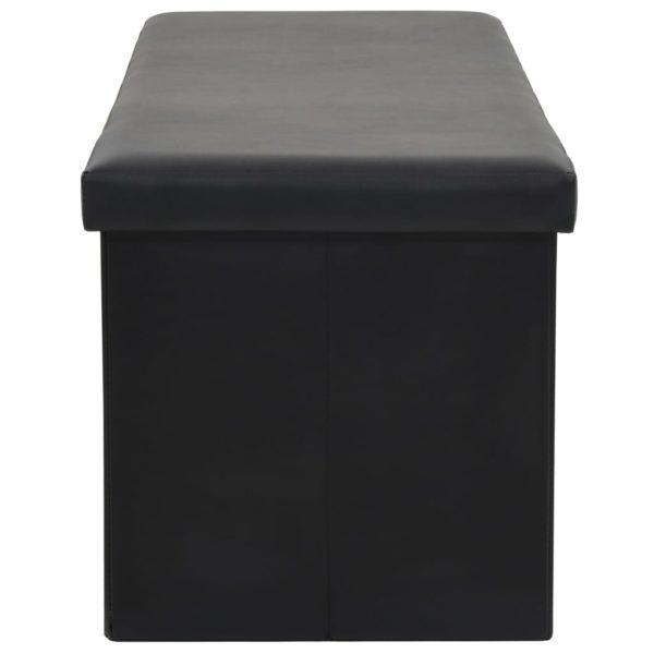 Faltbare Sitzbank Kunstleder 110×38×38 cm Schwarz