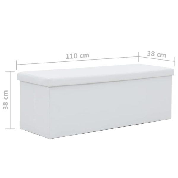 Faltbare Sitzbank Kunstleder 110×38×38 cm Weiß