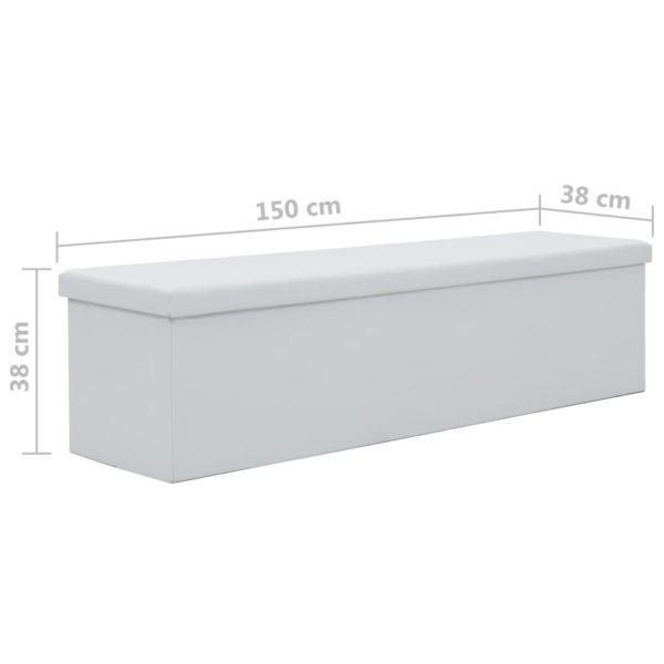 Faltbare Sitzbank Kunstleder 150×38×38 cm Weiß